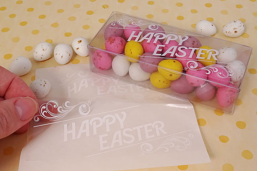 Happy-Easter-clear-sticker-white-ink-label