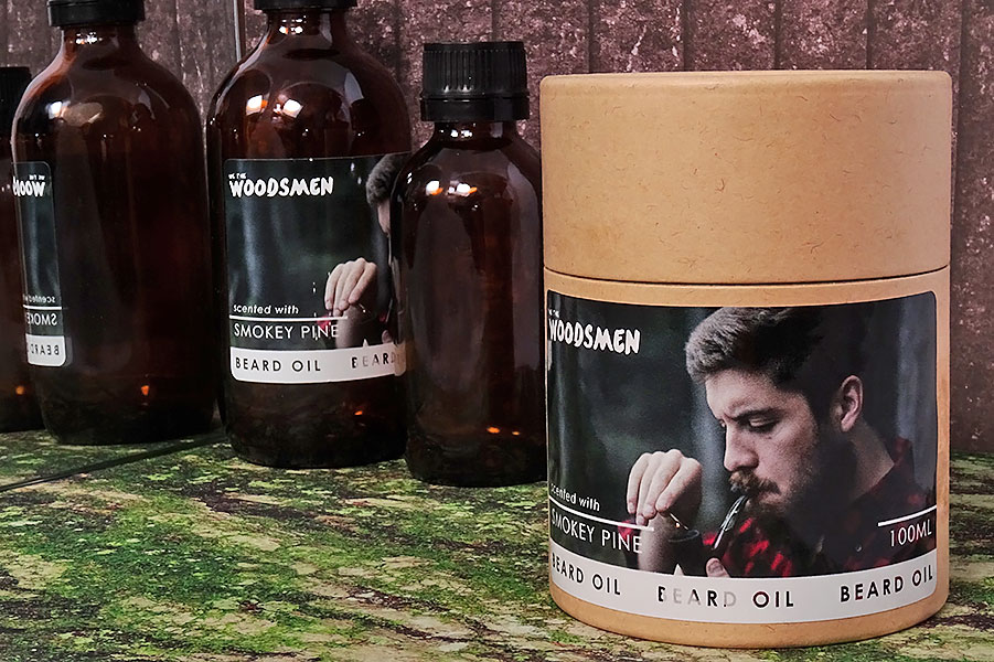 Woodsman-beard-oil-jar-and-bottle-labels