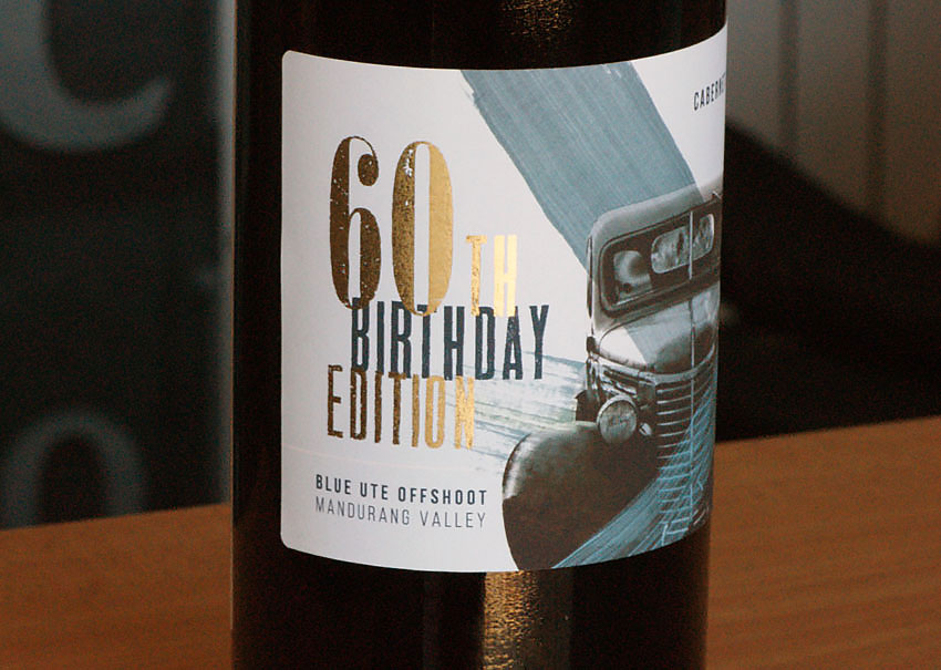 60th Birthday metallic gold wine label