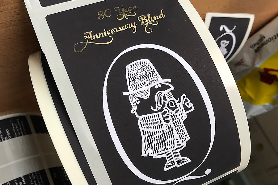 Anniversary metallic wine label