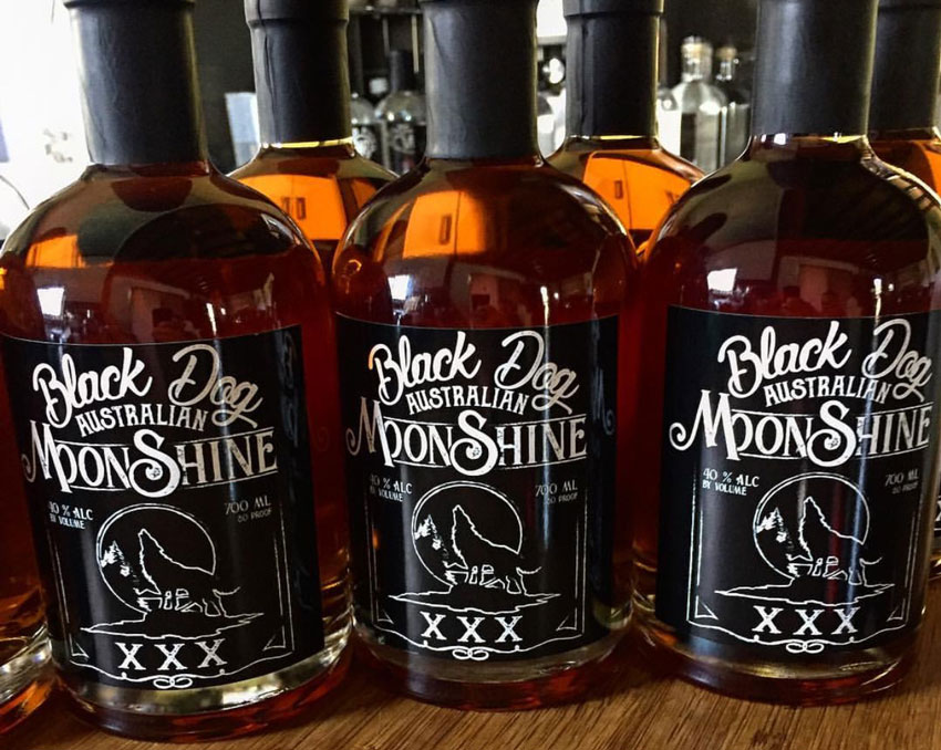 Black Dog Moonshine labels